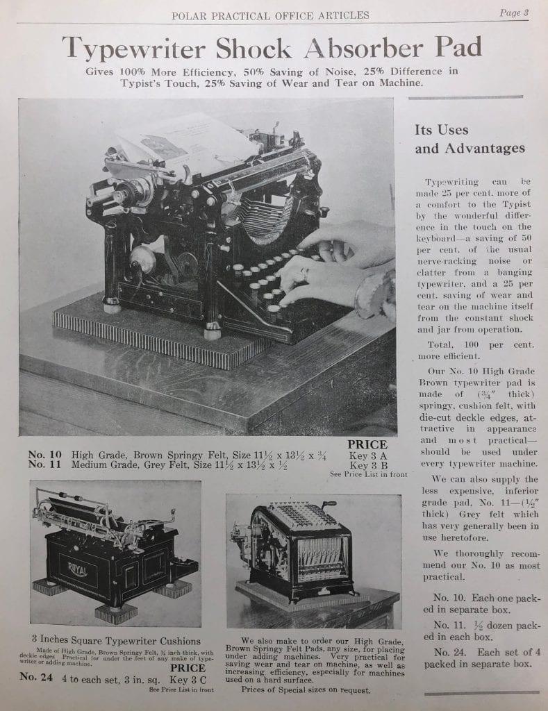 Typewriter Shock Absorber Pad by Polar MFG. Co.
